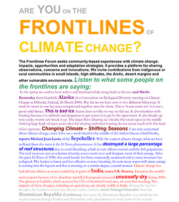 Are you in the frontlines of climate change?